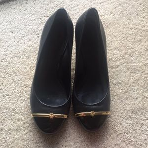 Black Tory Burch Pacey Wedge Pump. Size 9
